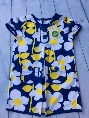 Mini Boden blue and yellow dress BRAND NEW WITH TAGS age 2-3